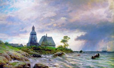 The Houses Mixed Media - Church House By The Sea by Georgiana Romanovna