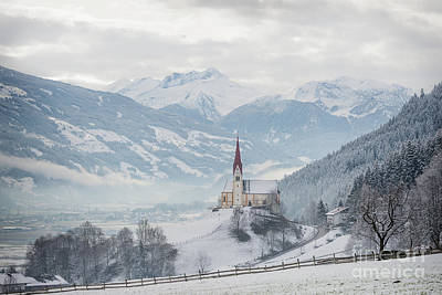 Church In Alpine Zillertal Valley In Winter Art Print