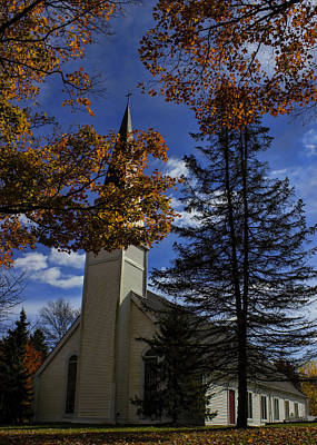 Photograph - Church In Autumn by Ron Grafe