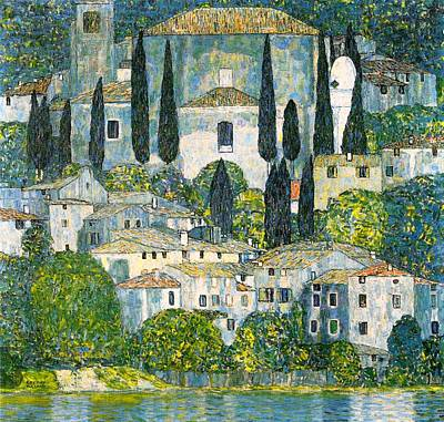 Antique Italian Oil Painting - Church In Cassone by Mountain Dreams