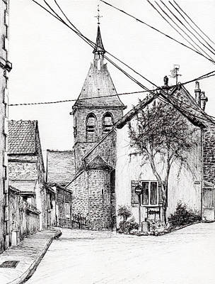 White Wine Drawing - Church In Laignes by Vincent Alexander Booth