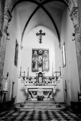 Photograph - Church In Manarola Cinque Terre Italy Bw Glow by Joan Carroll