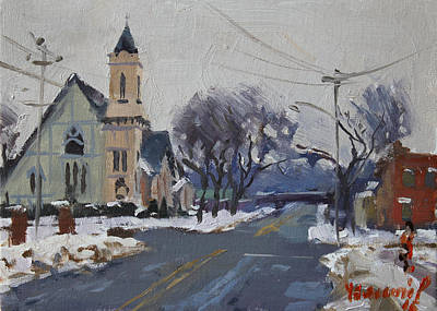 City Village Painting - Church In North Tonawanda by Ylli Haruni