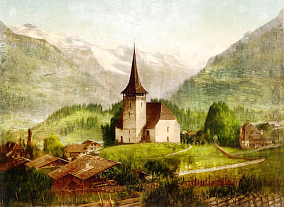 Photograph - Church In The Alps - Remastered by Carlos Diaz