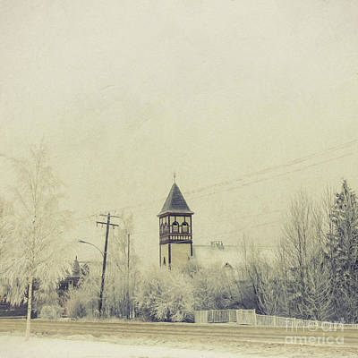 Main Street Photograph - Church In The Fog by Priska Wettstein