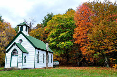 Autum Photograph - Church In The Wildwood by Todd Hostetter