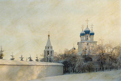 Orthodox Mixed Media - Church In Winter Estate by Konstantin Sevostyanov