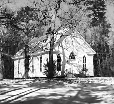 Photograph - Church In Woods In Bw by Roberta Byram