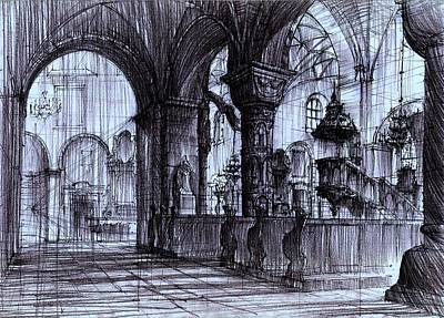 Medieval Temple Drawing - Church Interior In Strzelno Poland by Krystian  Wozniak