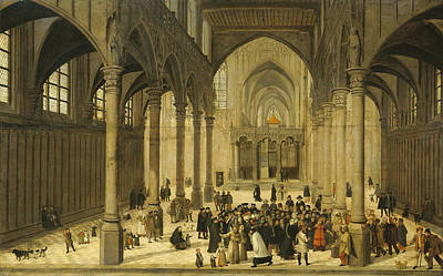 Medieval Temple Painting - Church Interior With Christ Preaching To A Congregation, 1570 by Cornelis Van Dalem