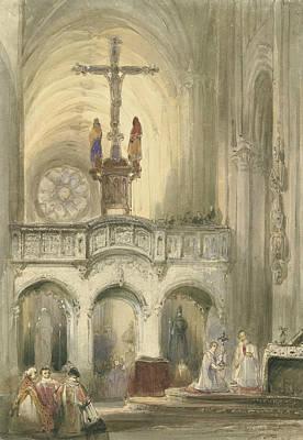 Mass Painting - Church Interoir With Mass by Johannes Bosboom