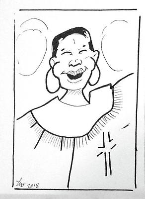 Drawing - Church Lady 2 by Loretta Nash
