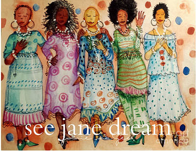 American Airmen Painting - Church Lady Series Sunday Sistahs by Janie McGee