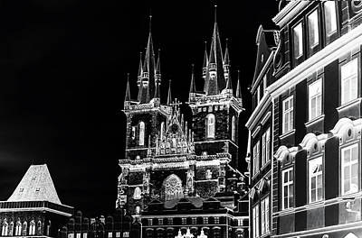 Old Prague Photograph - Church Of Our Lady Before Tyn. Night Prague by Jenny Rainbow