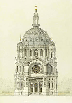 The Main Drawing - Church Of Saint Augustin Paris. Elevation Of The Main Facade by Victor Baltard