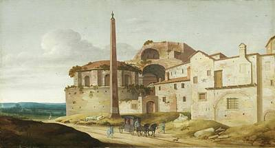 Horse And Buggy Painting - Church Of Santa Maria Della Febbre - Rome by Pieter Jansz Saenredam