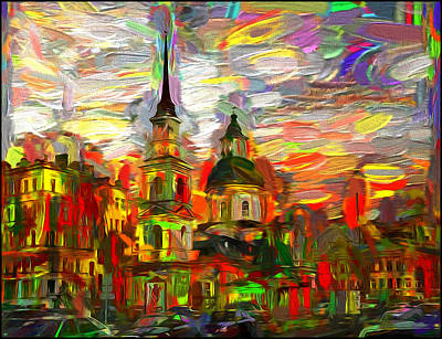 The Church Mixed Media - Church Of  Simeon And Anna  by Alexey Bazhan