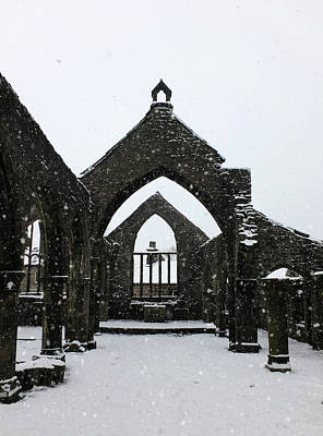 Photograph - Church Of St Thomas A Becket In Heptonstall In Falling Snow by Philip Openshaw