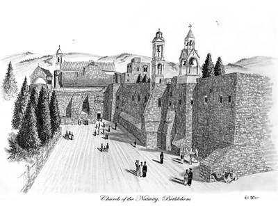 Yeshua Drawing - Church Of The Nativity by Eli Ofir