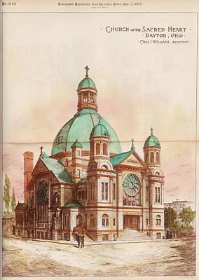 Ohio Painting - Church Of The Sacred Heart. Dayton Oh. 1887 by Chas Williams