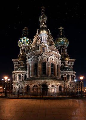 Photograph - Church Of The Savior On Spilled Blood At Night by Jaroslaw Blaminsky