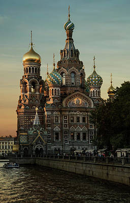 Photograph - Church Of The Savior On Spilled Blood At Sunset by Jaroslaw Blaminsky