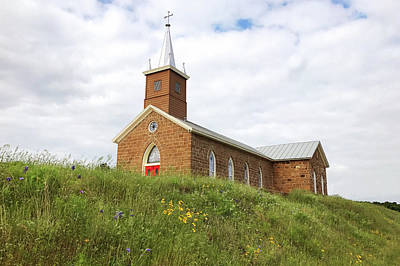 Photograph - Church On A Grassy Hill by Art Block Collections