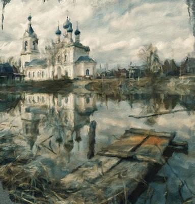 Jesus Christ Icon Digital Art - Church On River 02 by Yury Malkov