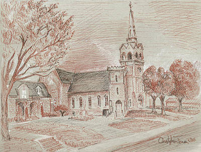 Religious Drawings Mixed Media - Church On St. Josephs Blvd by Christopher James