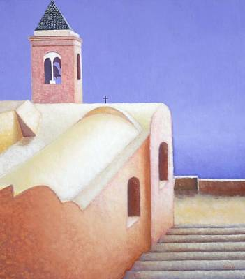 Mystical Landscape Painting - Church On The Coast by Gloria Cigolini-DePietro