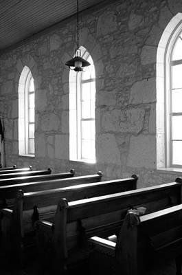 Photograph - Church Pews Black And White by Jill Reger
