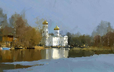 Digital Art - Church Reflection On Winter Pond 2 by Yury Malkov