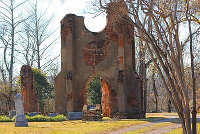 Photograph - Church Ruins Greenfield Cemetery by Karen Wagner