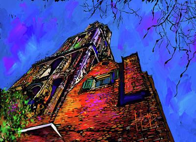 Nederland Painting - Church, Utrecht, Netherlands by DC Langer