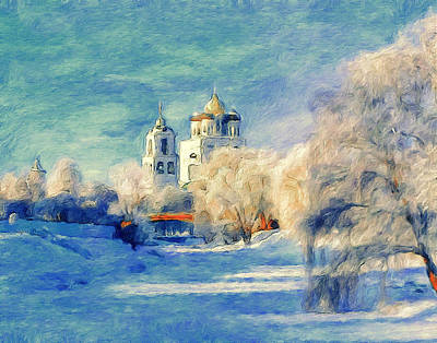 Digital Art - Church Winter Beautiful by Yury Malkov