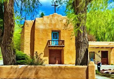 America Painting - Church With Blue Door by Jeff Kolker