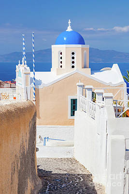 Photograph -  Church With Famous Blue Dome On Santorini Island, Greece. Aegean Sea View by Michal Bednarek