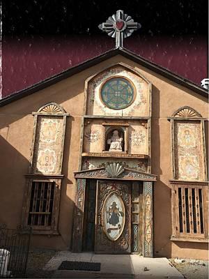 Digital Art - Church With Heartfelt Sky by Michael Hurwitz