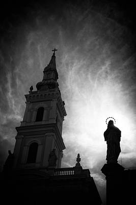 Photograph - Church With Jesus Statue Black And White by Matthias Hauser