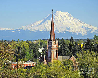 Photograph - Church With Mt Rainier by Jack Moskovita