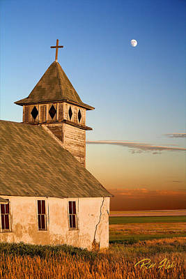 Photograph - Church With The Moon by Rikk Flohr