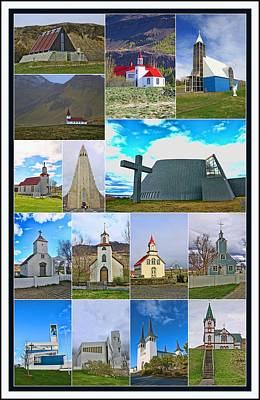 Photograph - Churches Of Iceland Collage # 2 by Allen Beatty