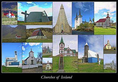 Photograph - Churches Of Iceland Collage by Allen Beatty