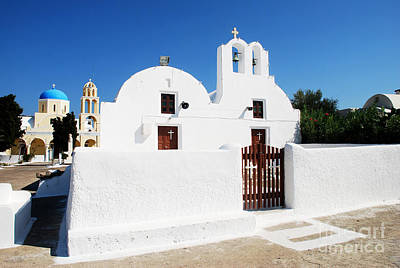 Greek Photograph - Churches On Santorini Greece Island by Just Eclectic