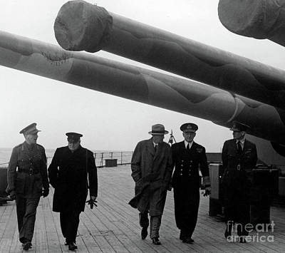 Churchill Aboard The Hms Prince Of Wales, 1941 Art Print by English School