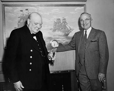 Photograph - Churchill And Harry Truman On Presidential Yacht by War Is Hell Store