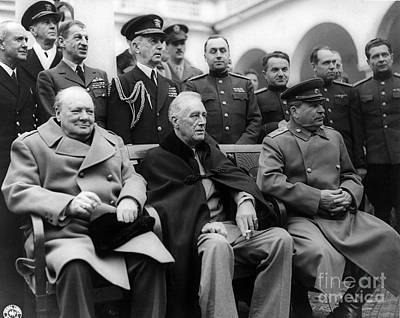 British Bulldog Photograph - Churchill, Roosevelt And Stalin by Science Source