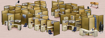 Cubicle Digital Art - Churn Decluttered by Simon Currell