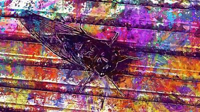 Digital Art - Cicada Bug Creepy Cool Nature  by PixBreak Art