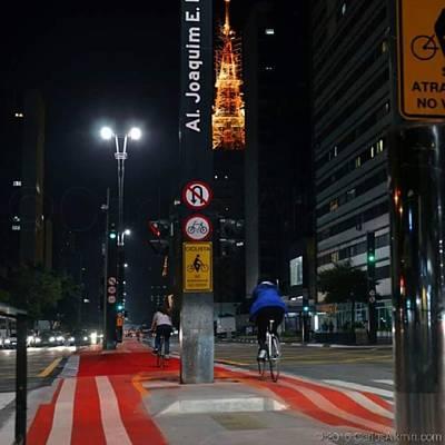 Bike Photograph - #cicloviadapaulista Em Noite De by Carlos Alkmin